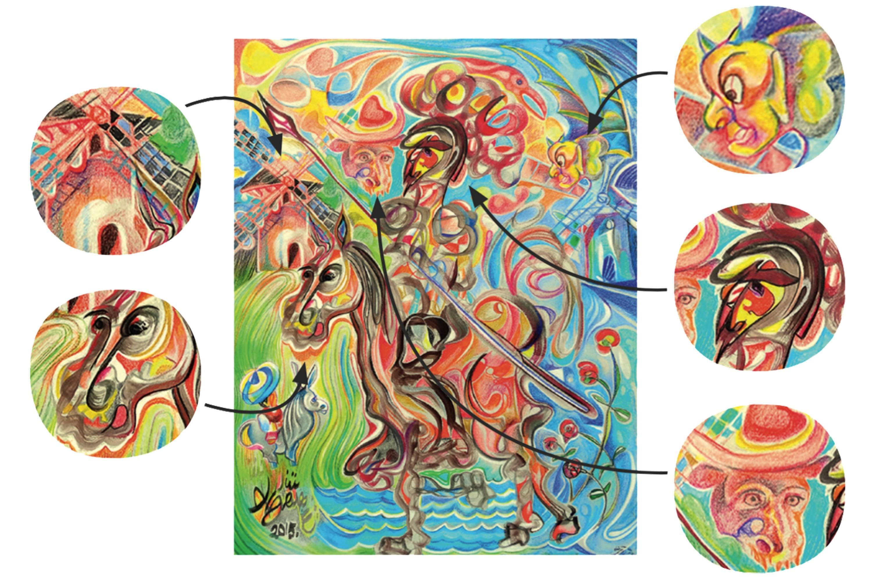 Don Quijote alucinando los molinos del viento