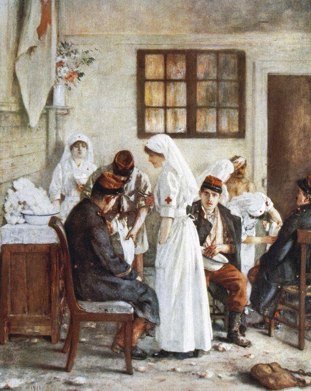 Infirmières soignant des blessés durant la Première Guerre mondiale