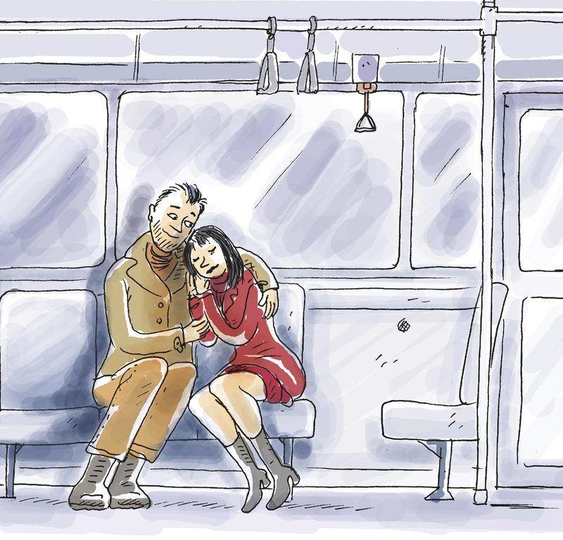 Couple dans le métro