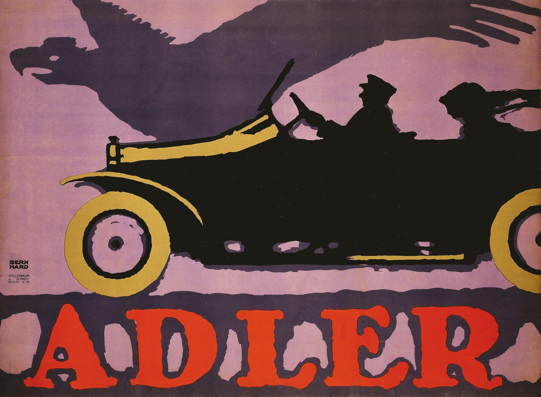 Affiche publicitaire pour les automobiles allemandes Adler