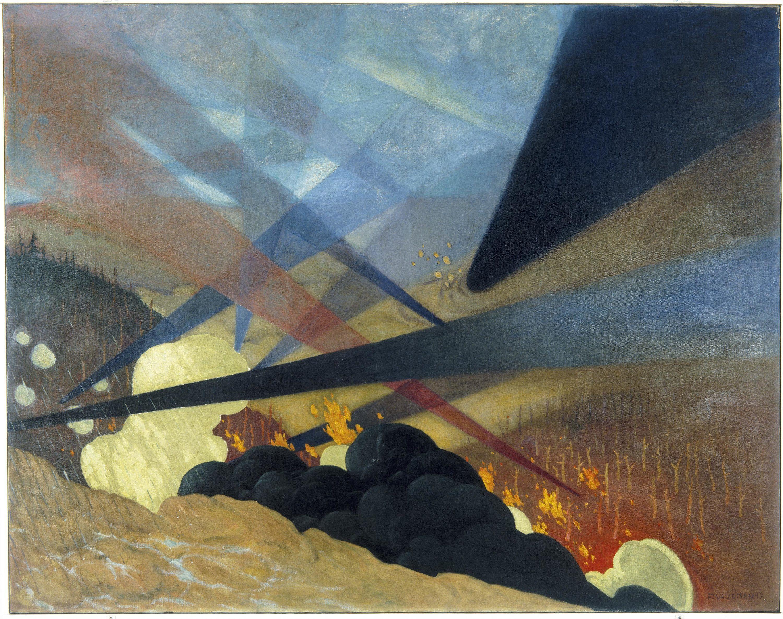 Verdun. Tableau de guerre interprété, projections colorées noires, bleues et rouges, terrains dévastés, nuées de gaz