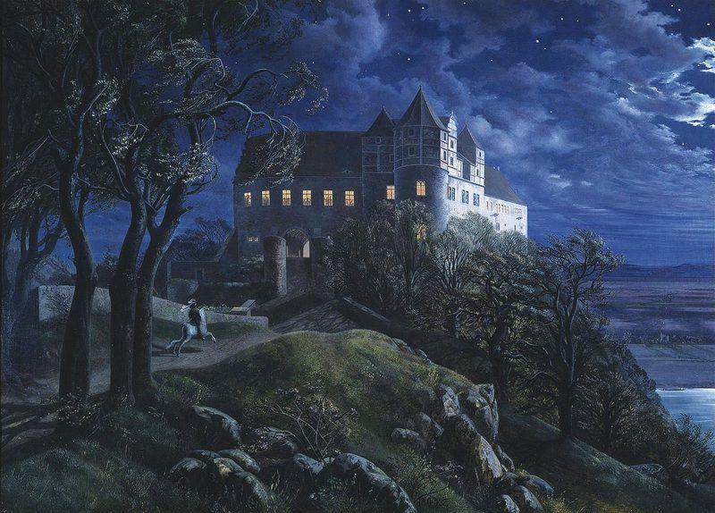 Burg Scharfenberg la nuit