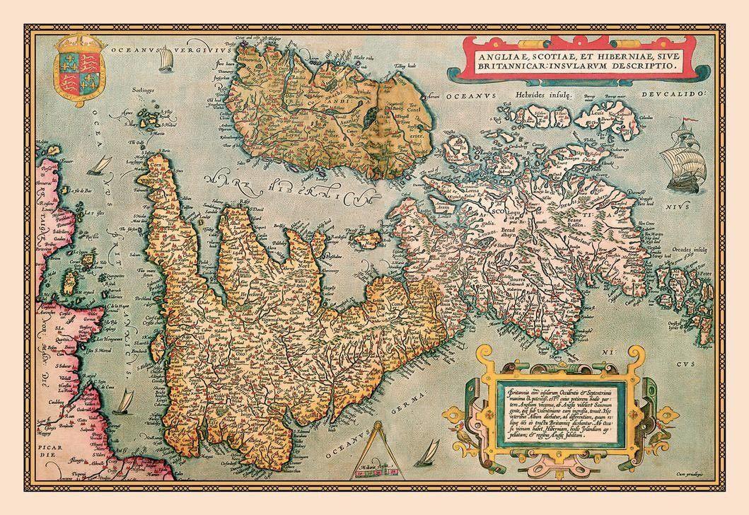 Carte de la grande-Bretagne en latin
