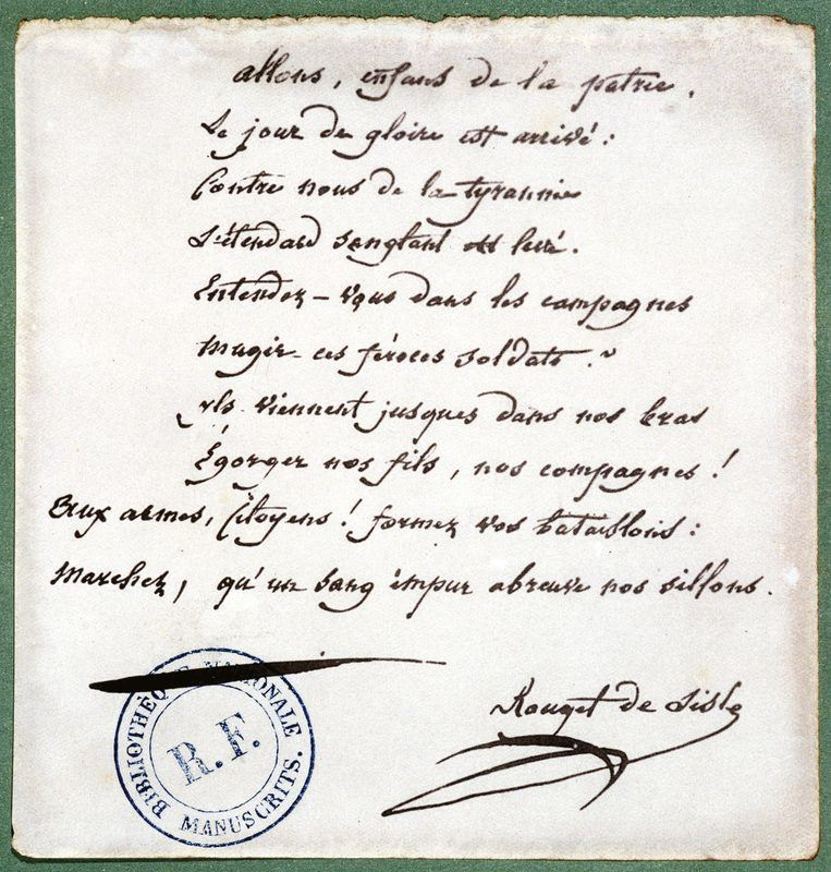 Reproduction d'une strophe de La Marseillaise manuscrite
