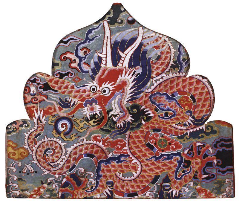 Soierie représentant un dragon