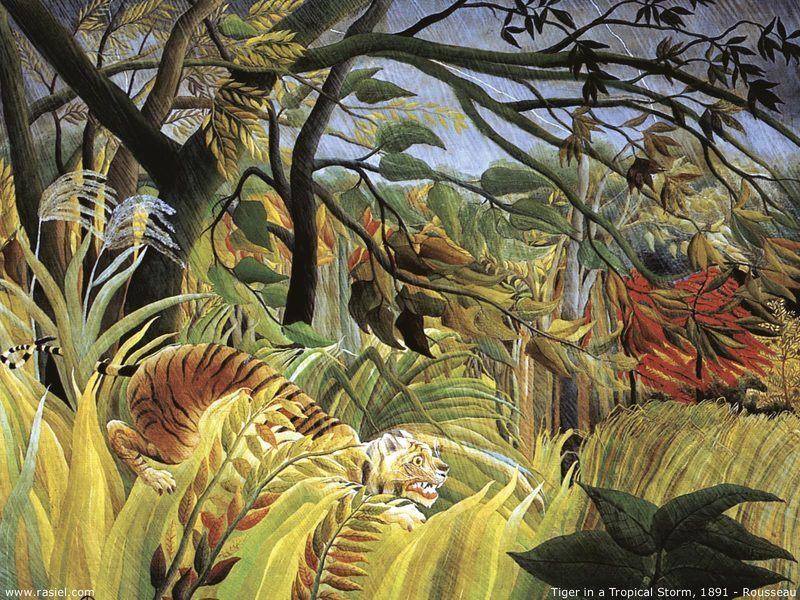 Tigre dans une tempête tropicale