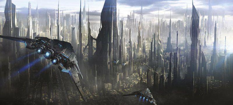 Arrivée dans une ville futuriste