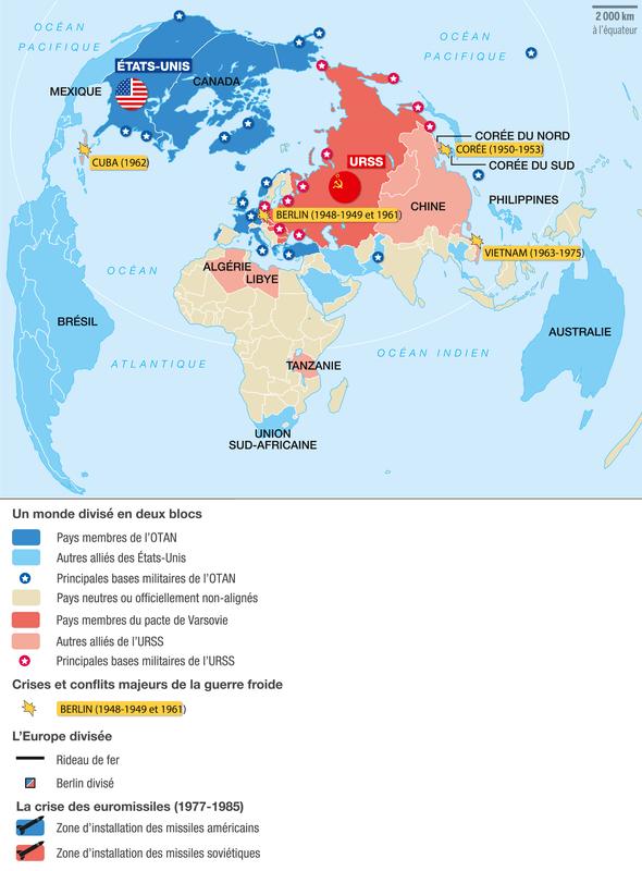 Carte Du Monde Pendant La Guerre Froide.Le Monde Bipolaire