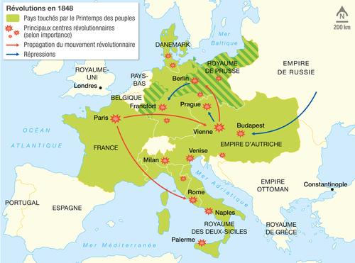 Carte De Leurope Industrielle Au Xixe Siecle.Les Revolutions En Europe En 1848