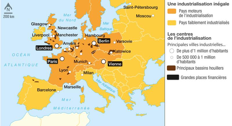 Carte Europe Industrielle.L Industrialisation En Europe Du Xixᵉ Au Xxᵉ Siecle