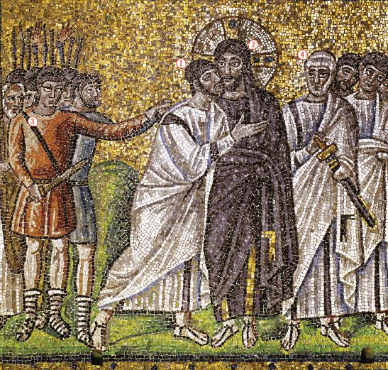 Jésus, entouré de ses apôtres, est arrêté par les soldats romains