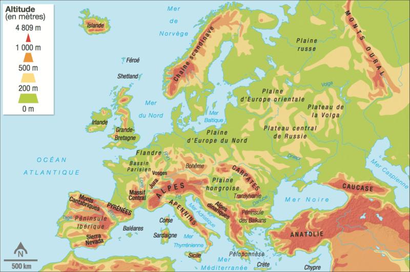 les alpes carte europe
