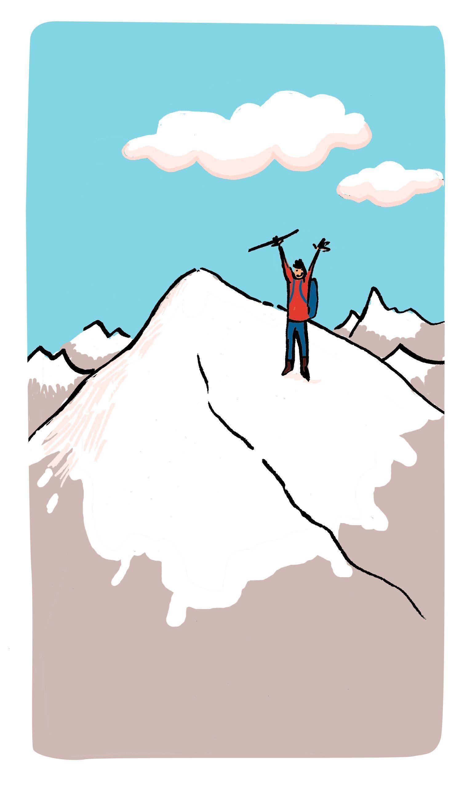 Thibaut crie « Allo ! » en haut d'une montagne et écoute l'écho de sa voix.