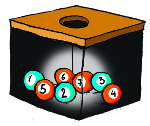 Une urne contient 3 boules bleues numérotées 1, 2, 3 et 4 boules oranges numérotées 4, 5, 6, 7.