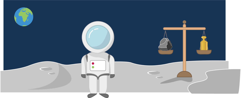 Une balance sur la lune.