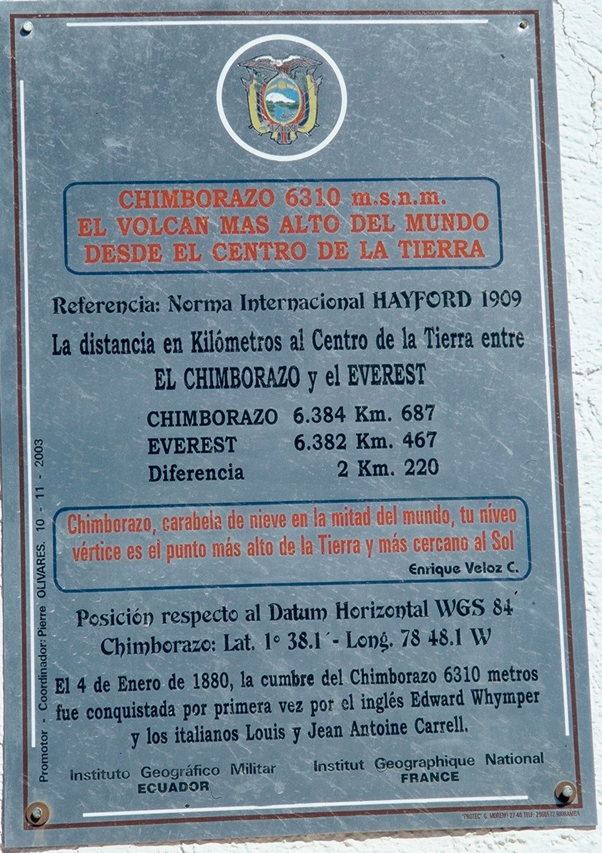Plaque posée à proximité du mont Chimborazo, en Équateur.