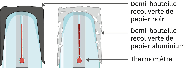 Disposition des demi-bouteilles et des thermomètres.