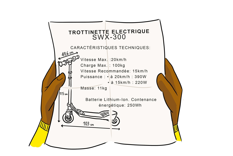 Caractéristiques techniques de la trottinette électrique.