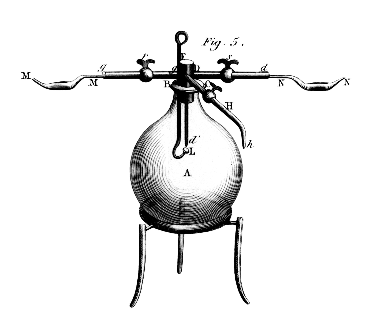 Ballon utilisé par Lavoisier pour la synthèse de l'eau.