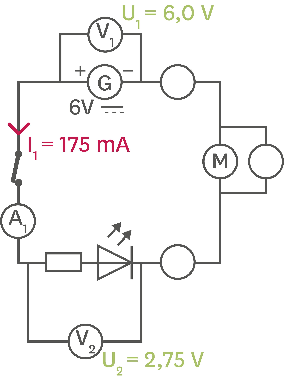 Intensité et tension dans un circuit en série.