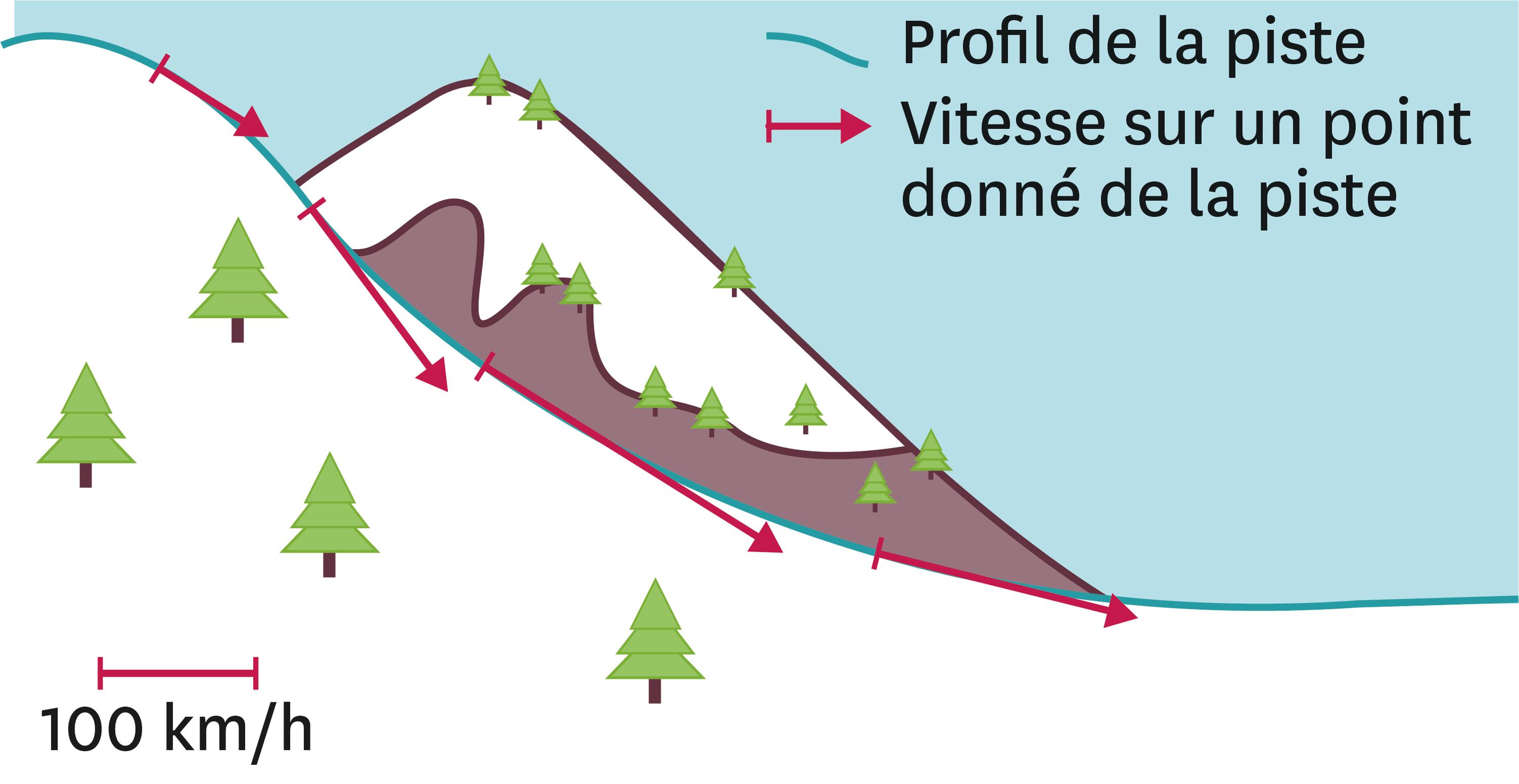 Évolution de la vitesse de Valentina au cours de la descente.