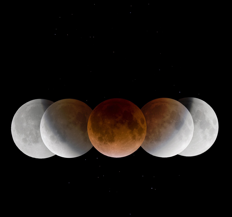 La Lune à différents moments de son éclipse.
