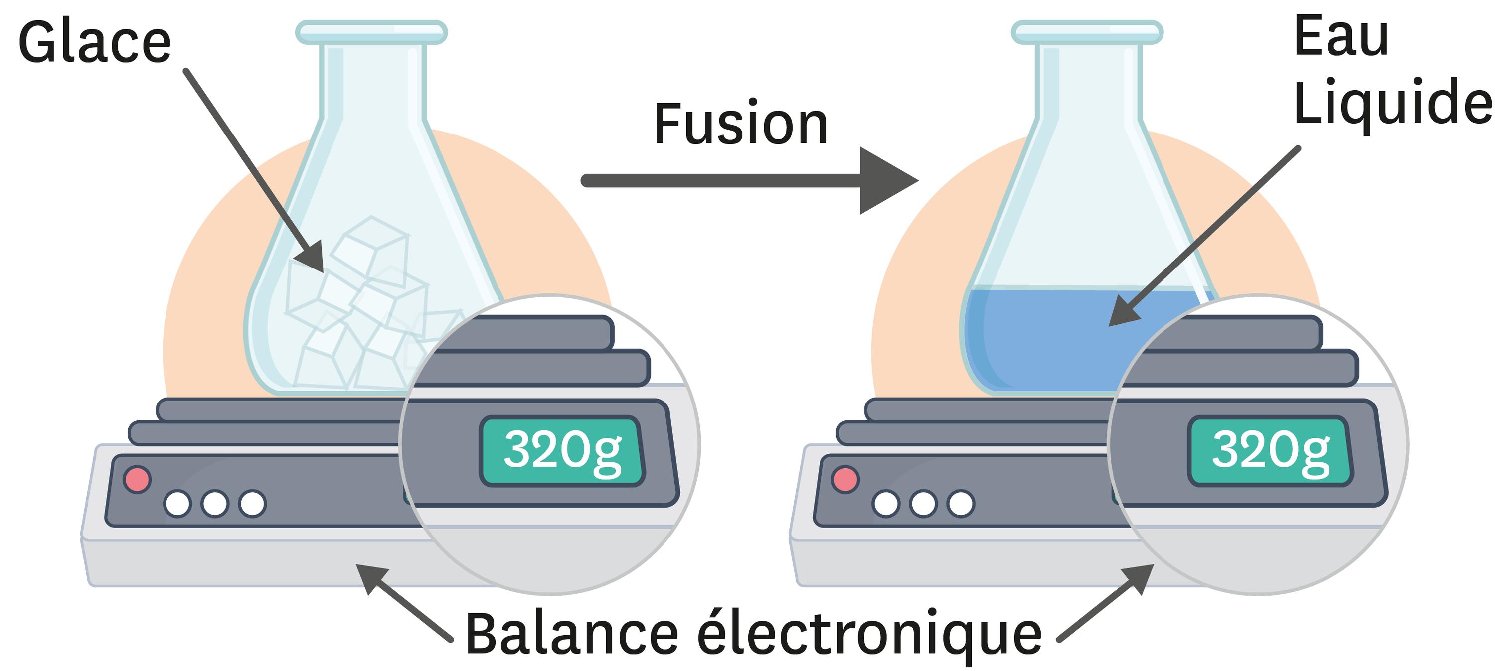 Masse et fusion de l'eau.