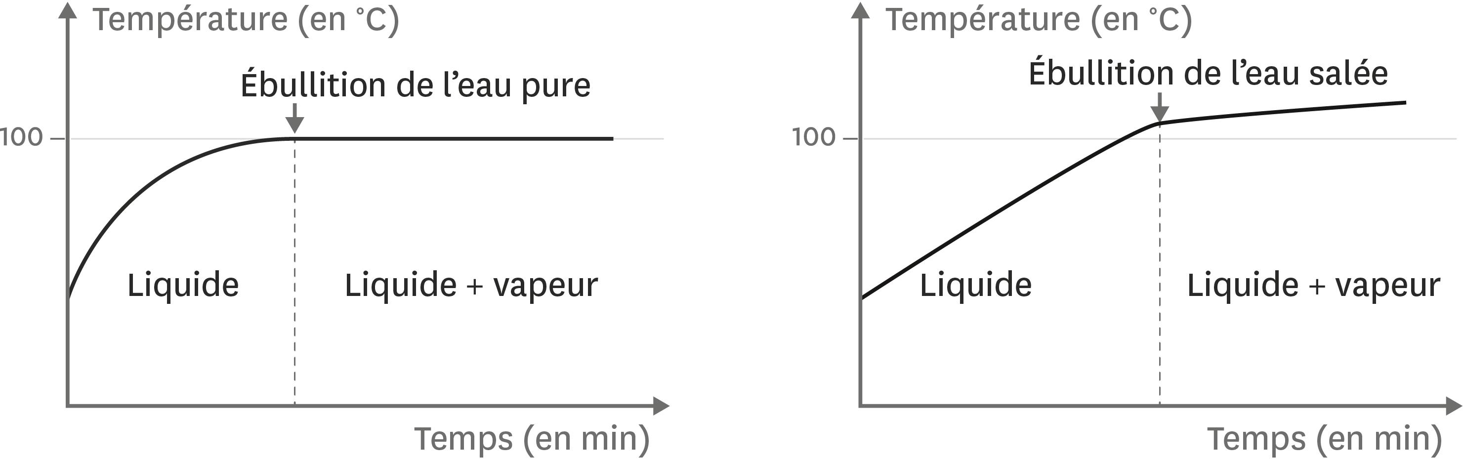 Température de l'eau pure et de l'eau salée en fonction de la durée du chauffage
