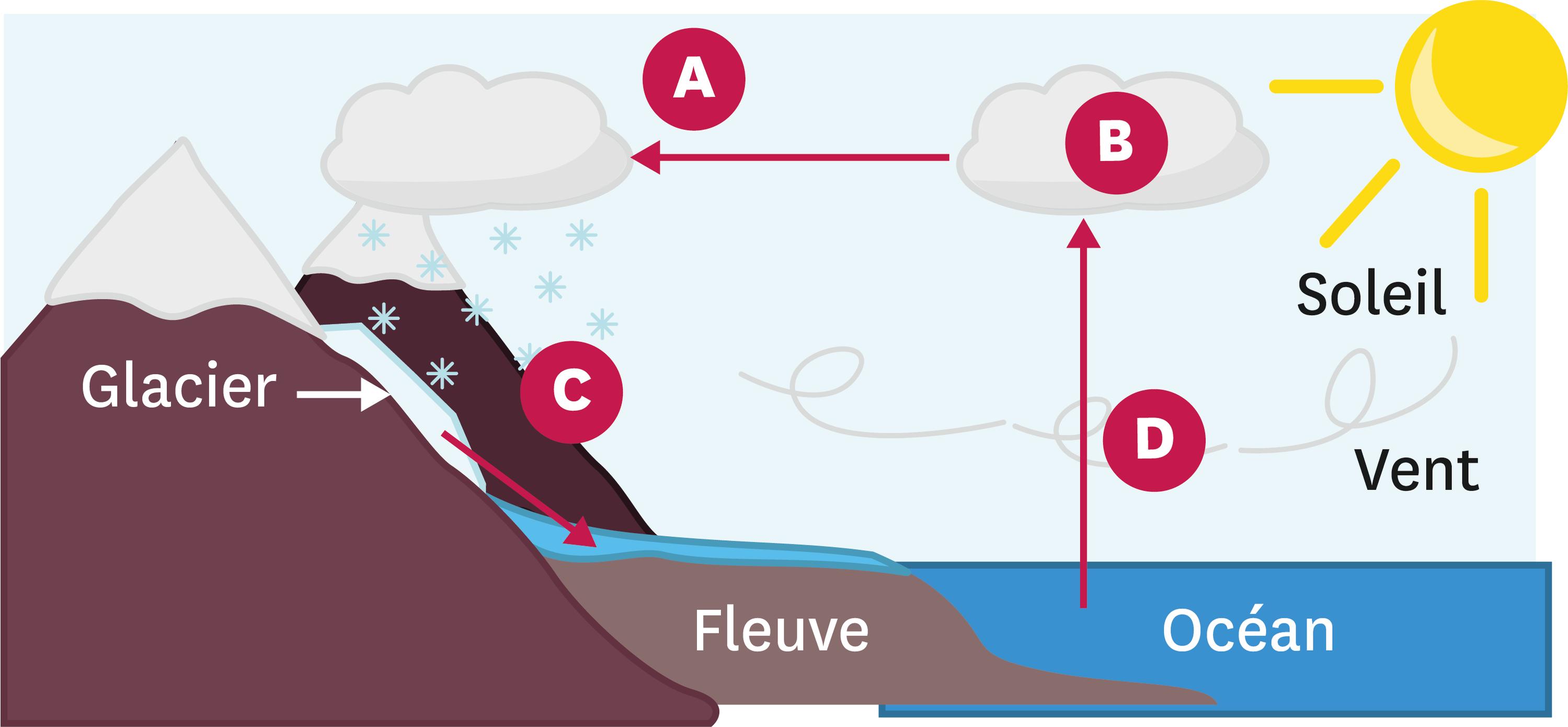Le cycle de l'eau.