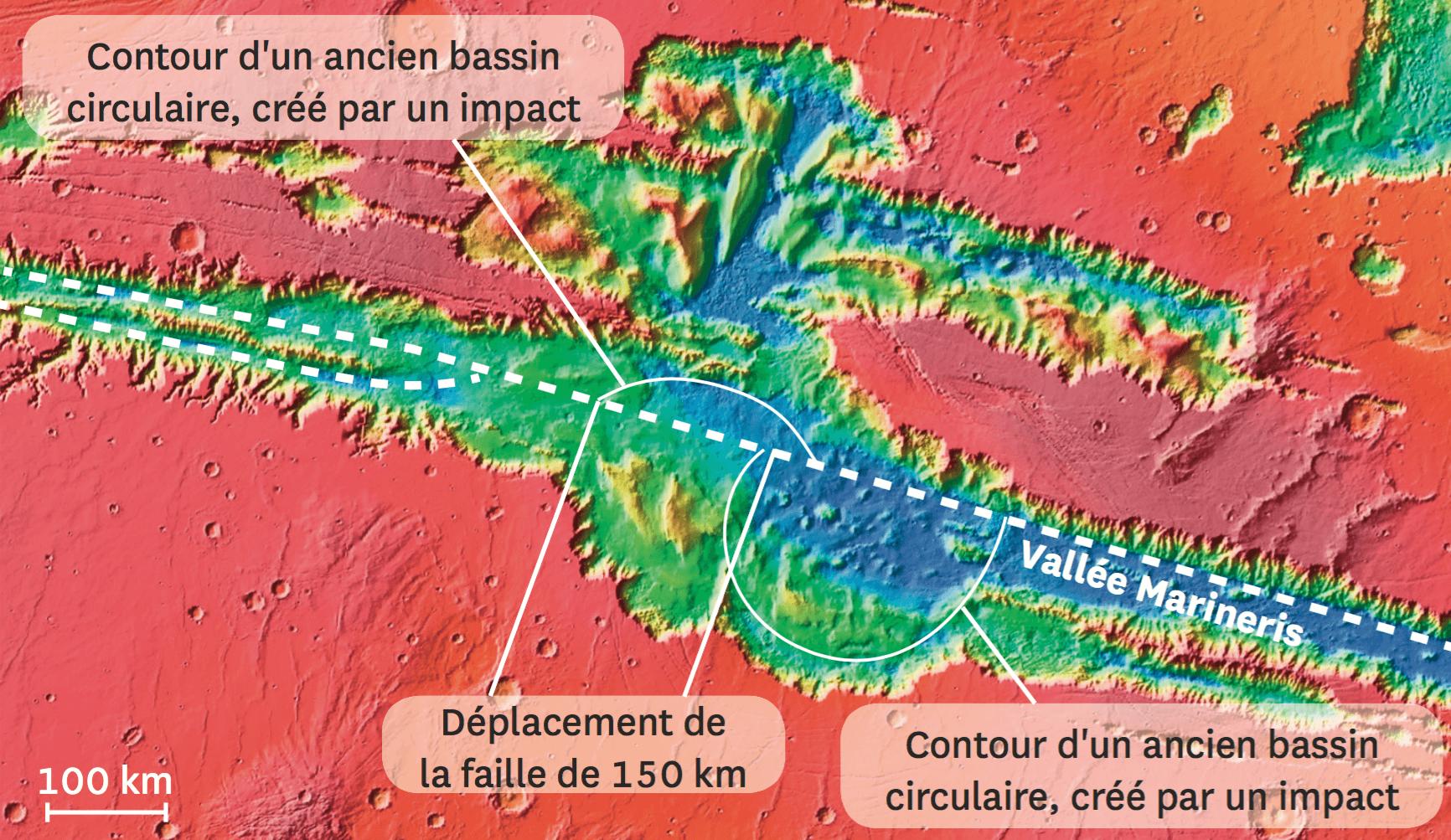 Image en fausses couleurs présentant une vallée et un ancien cratère d'impact.