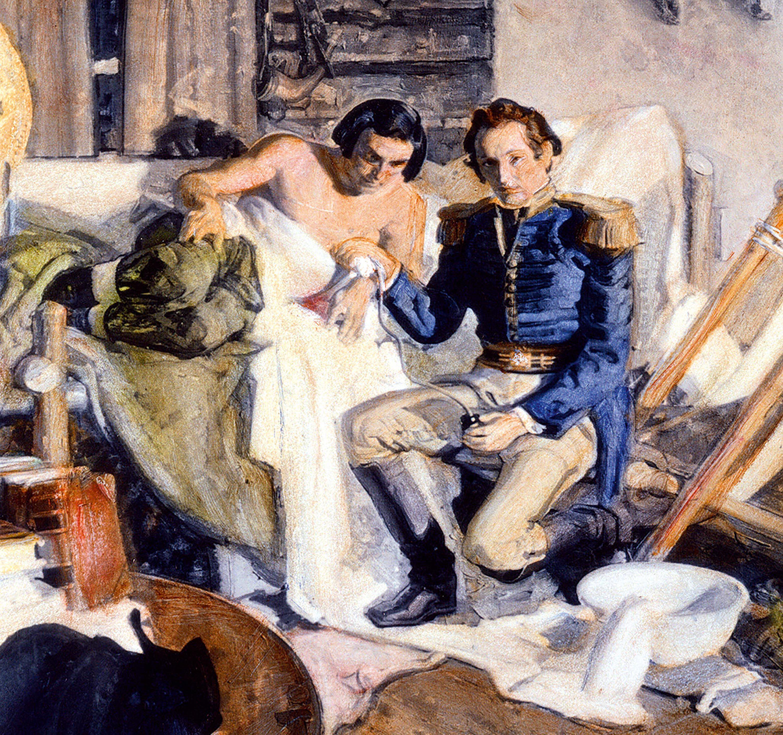 Une illustration d'une expérience menée en 1822 par le Dr William Beaumont sur un trappeur canadien.