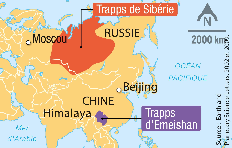Les trapps volcaniques à la transition Permien-Trias en Asie.