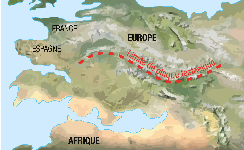 L'aspect supposé de l'Europe et de l'Afrique dans 100 millions d'années.