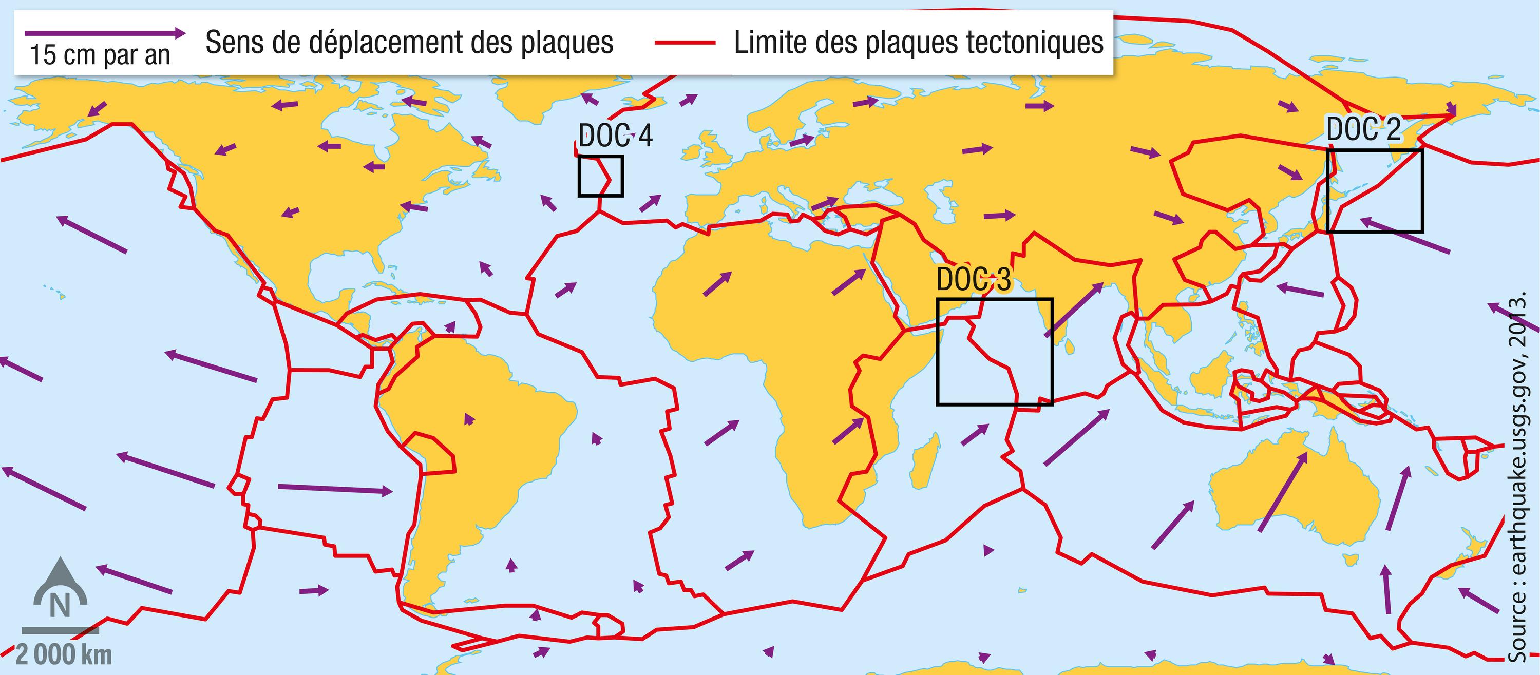 Les sens de déplacement des plaques tectoniques à partir des données GPS.
