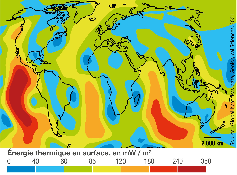 La dissipation d'énergie thermique à la surface de la Terre.