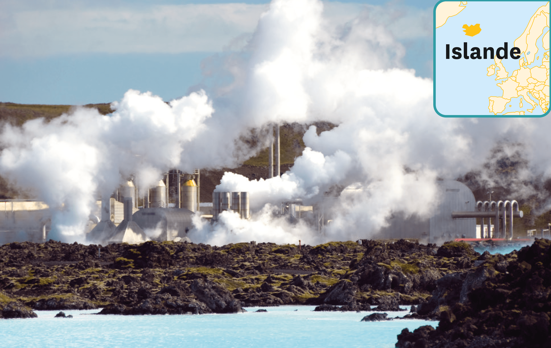 Le lagon bleu, centrale géothermique et piscine en Islande.