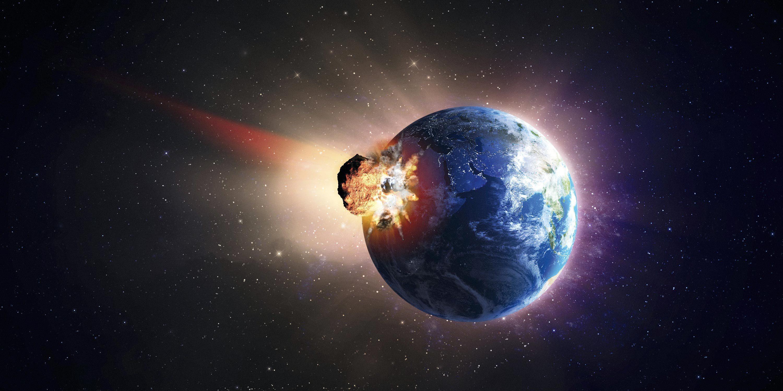Une cause d'extinction de certaines espèces : les chutes de météorites (vue d'artiste).