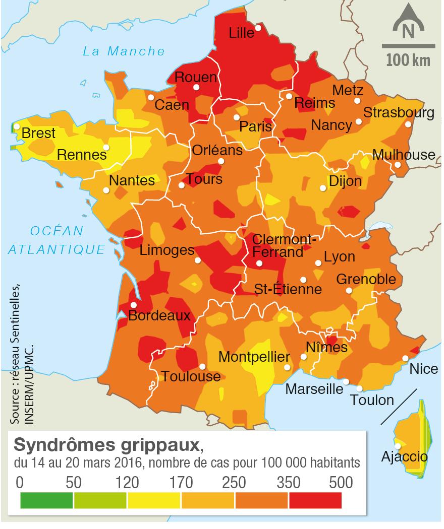 Un arrêt sur image de la propagation du virus de la grippe saisonnière en mars 2016.