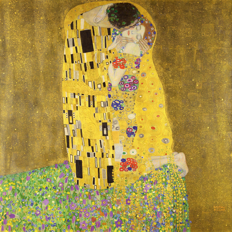 Le Baiser de Gustave Klimt, 1908, musée du Belvédère, Vienne.