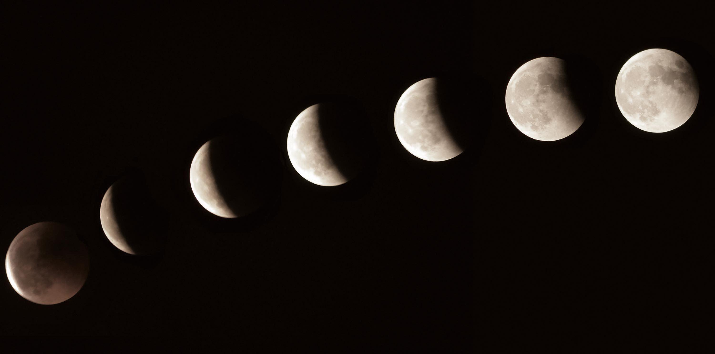 Une observation de la Lune au cours d'une éclipse lunaire.