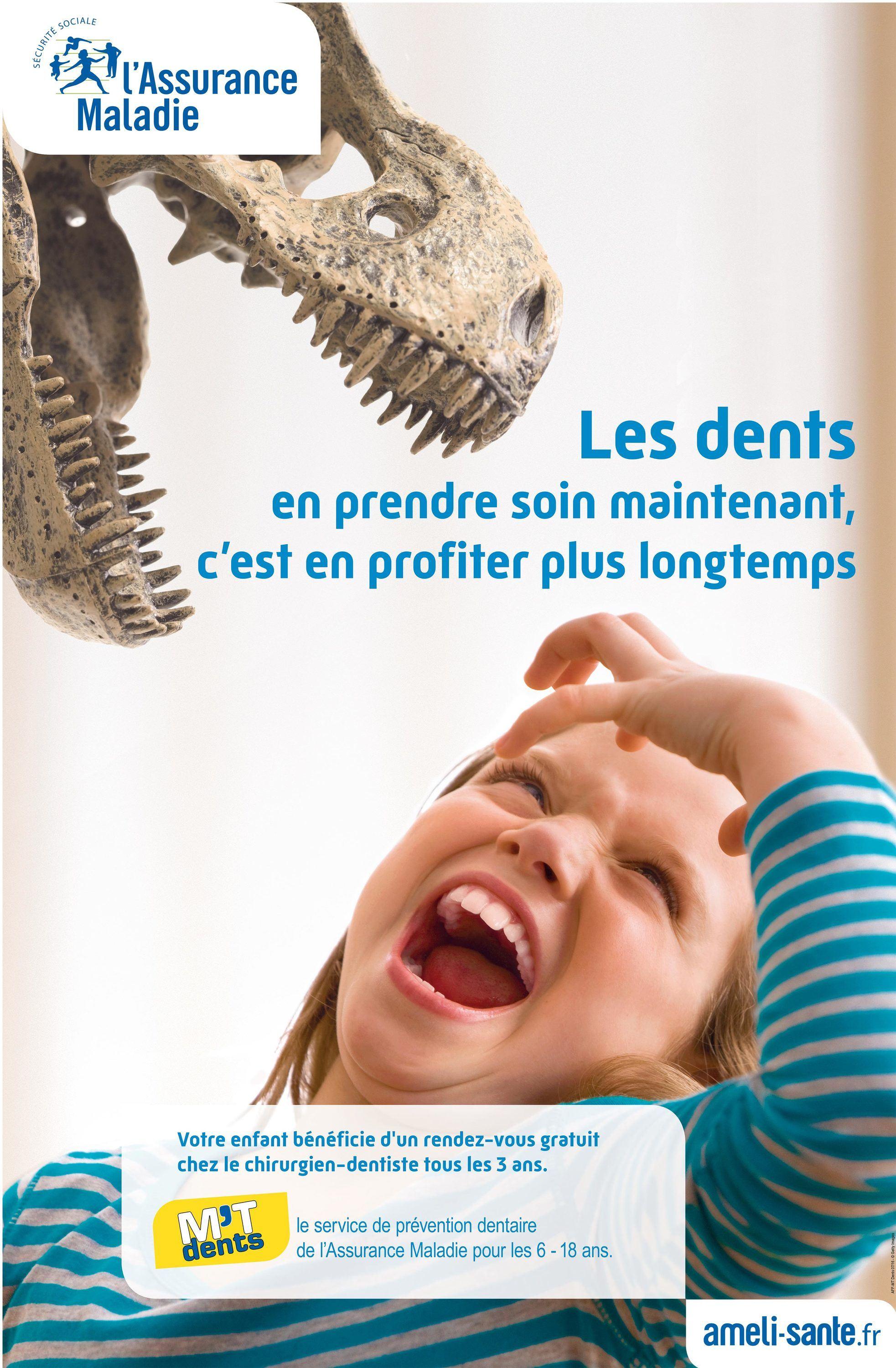 Une affiche pour l'opération « M'T dents » financée par l'Assurance Maladie.