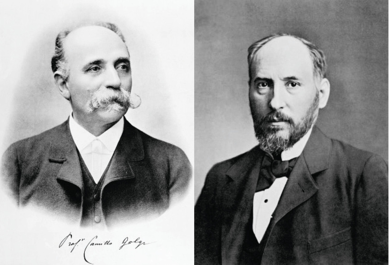 Camillo Golgi (à gauche) et Ramón y Cajal (à droite).