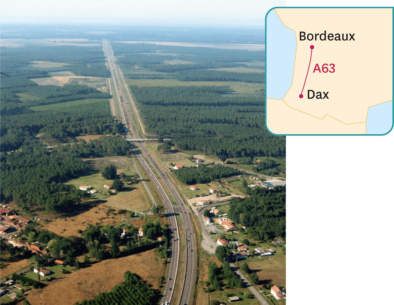 L'autoroute A63 dans les Landes.