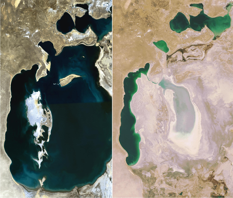 Des images satellite de la Mer d'Aral en 1989 et 2008.