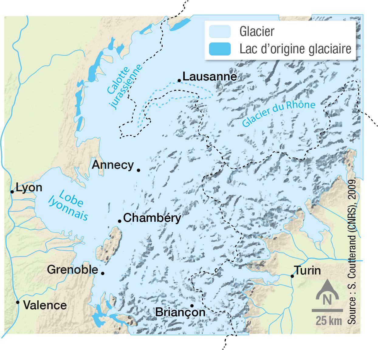Les glaciers des Alpes au maximum de la glaciation de Würm, il y a 40 000 ans.