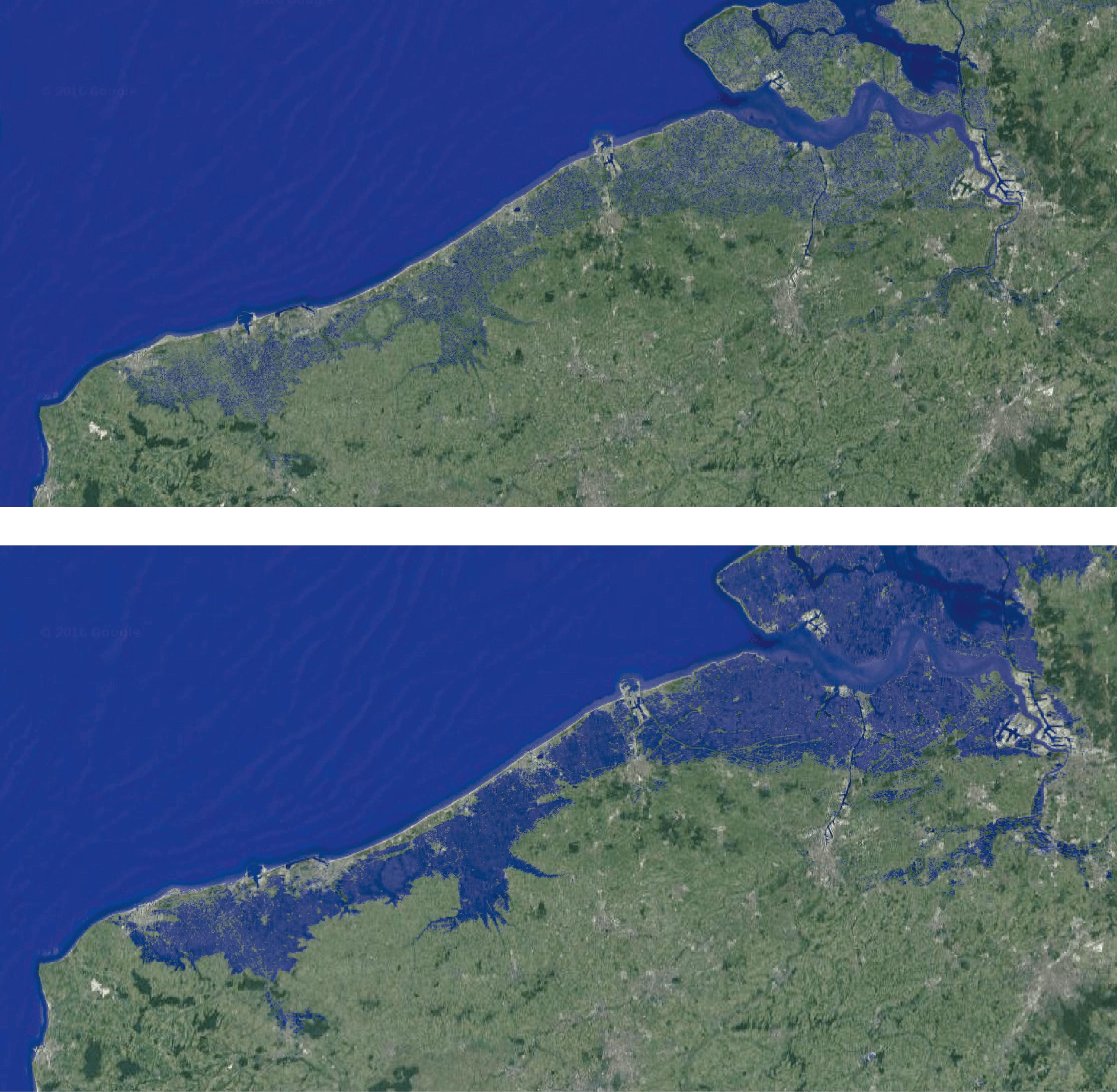 Le niveau marin actuel et une projection avec une élévation du niveau de 1 m.