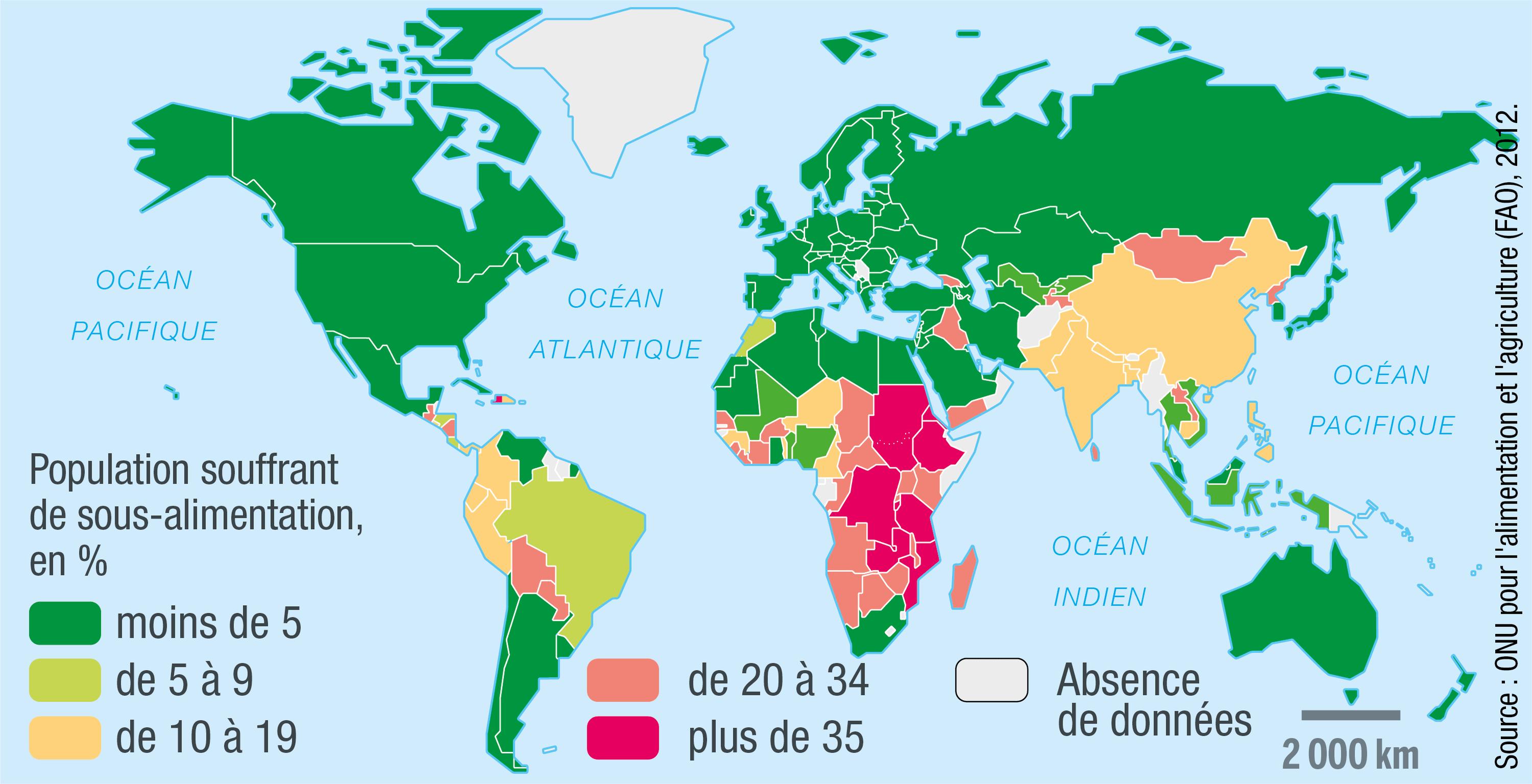 La sous-alimentation dans le monde en 2012.