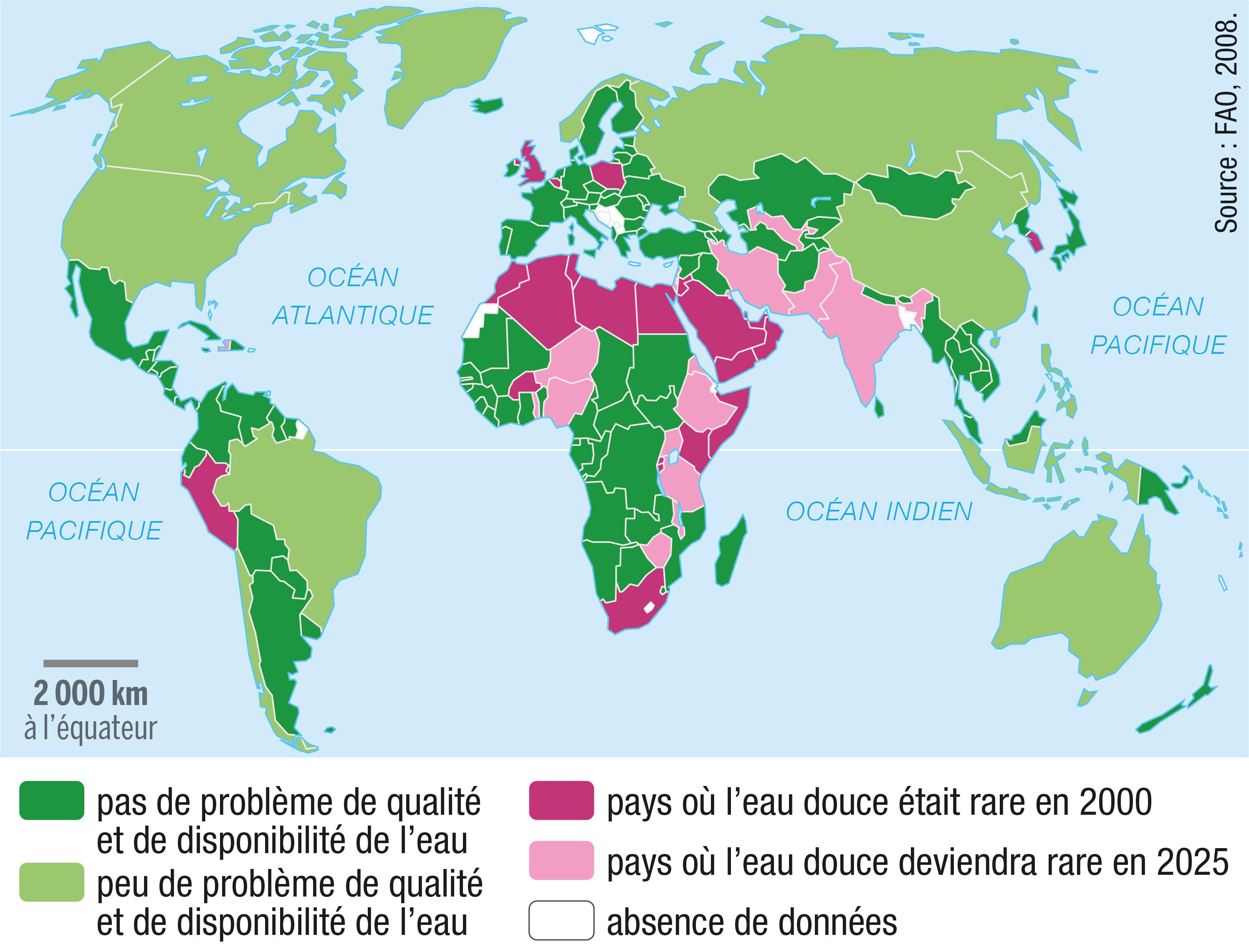 La disponibilité en eau douce en 2000 et les prévisions pour 2025.