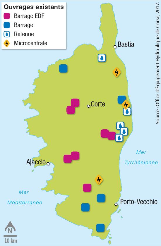 Les réseaux hydrauliques en Corse et les ouvrages (barrages, retenues, réserves).