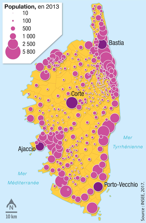 La densité de population des communes de l'ile.